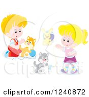 Clipart Of Children Playing With Kittens Royalty Free Vector Illustration