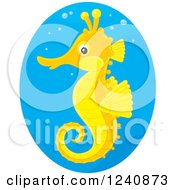 Clipart Of A Cute Orange And Yellow Seahorse In A Blue Oval Royalty Free Vector Illustration