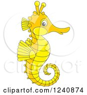 Clipart Of A Cute Orange And Yellow Seahorse Royalty Free Vector Illustration