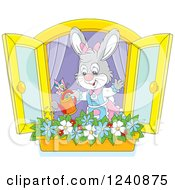 Clipart Of A Gray Female Bunny Rabbit Watering A Window Flower Garden Royalty Free Vector Illustration