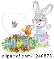 Clipart Of A Gray Female Bunny Rabbit Watering A Flower Garden Royalty Free Vector Illustration