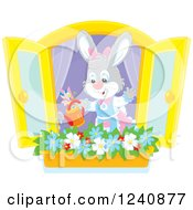 Clipart Of A Female Bunny Rabbit Watering A Window Flower Garden Royalty Free Vector Illustration
