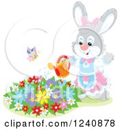 Clipart Of A Female Bunny Rabbit Watering A Flower Garden Royalty Free Vector Illustration