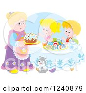 Clipart Of A Granny Serving An Easter Cake To Children Royalty Free Vector Illustration