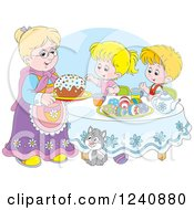 Clipart Of A Caucasian Granny Serving An Easter Cake To Children Royalty Free Vector Illustration