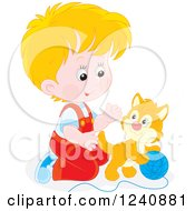 Clipart Of A Blond Caucasian Boy Playing With A Kitten Royalty Free Vector Illustration