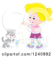 Clipart Of A Blond Caucasian Girl Playing With A Kitten Royalty Free Vector Illustration
