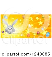 Clipart Of A Website Banner Of A Burst Of Rays Stars Eggs And A Gray Easter Bunny Royalty Free Vector Illustration