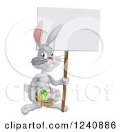 Clipart Of A White Easter Bunny Holding A Sign And Basket Royalty Free Vector Illustration