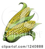 Clipart Of Woodblock Corn Royalty Free Vector Illustration
