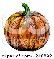 Clipart Of A Woodblock Pumpkin Royalty Free Vector Illustration
