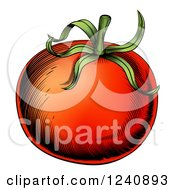 Clipart Of A Woodblock Tomato Royalty Free Vector Illustration
