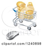Clipart Of A 3d Mouse Wired To A Shopping Cart With Golden SALE Royalty Free Vector Illustration by AtStockIllustration