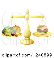 Clipart Of A 3d Golden Scale Comparing A Cheeseburger To Produce Royalty Free Vector Illustration