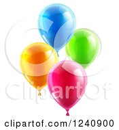 Clipart Of 3d Colorful Party Balloons Royalty Free Vector Illustration