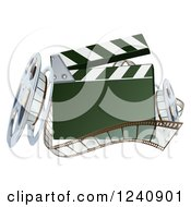 Clipart Of A 3d Clapper Board With Film And Reels Royalty Free Vector Illustration