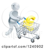Clipart Of A 3d Silver Man Pushing A Euro In A Shopping Cart Royalty Free Vector Illustration by AtStockIllustration