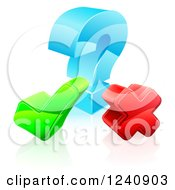 Clipart Of A 3d Question Mark With A Check And X Royalty Free Vector Illustration