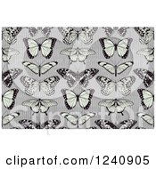 Clipart Of A Seamless Background Pattern Of Butterflies On Stripes Royalty Free Vector Illustration