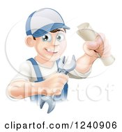 Clipart Of A Happy Worker Graduate Holding A Wrench And Certificate Royalty Free Vector Illustration