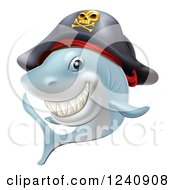 Clipart Of A Grinning Pirate Shark Royalty Free Vector Illustration by AtStockIllustration