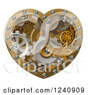 Clipart Of A 3d Steampunk Heart Of Gears Royalty Free Vector Illustration by AtStockIllustration