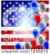 Clipart Of A Bright Burst Over An American Flag And Fourth Of July Balloons Royalty Free Vector Illustration by AtStockIllustration