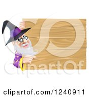 Clipart Of A Wizard Looking Around And Pointing At A Wooden Sign Royalty Free Vector Illustration