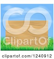Clipart Of A Wooden Sign And Grass Under A Blue Sky Royalty Free Vector Illustration by AtStockIllustration