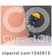 Clipart Of A 3d Blue Android Construction Robot Plastering A Wall 2 Royalty Free Illustration