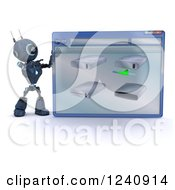 Clipart Of A 3d Blue Android Robot Behind A Computer File Window Of Hard Drives Royalty Free Illustration