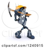 Clipart Of A 3d Blue Android Construction Robot Using A Pick Axe 2 Royalty Free Illustration