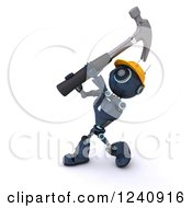 Poster, Art Print Of 3d Blue Android Construction Robot Hammering
