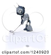 Clipart Of A 3d Blue Android Robot Golfing 4 Royalty Free Illustration