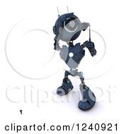 Clipart Of A 3d Blue Android Robot Teeing Off While Golfing Royalty Free Illustration