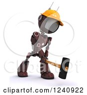 Poster, Art Print Of 3d Red Android Construction Robot Demolishing With A Sledgehammer 2