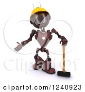Poster, Art Print Of 3d Red Android Construction Robot Standing With A Sledgehammer