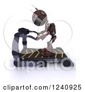 Clipart Of A 3d Red Android Robot Catching His Breath On A Treadmill Royalty Free Illustration by KJ Pargeter