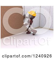 Clipart Of A 3d Red Android Construction Robot Plastering A Wall 2 Royalty Free Illustration