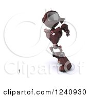 Clipart Of A 3d Red Android Robot Teeing Off While Golfing Royalty Free Illustration