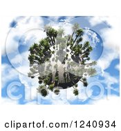 3d Palm Tree Planet Over A Blue Sky With Clouds