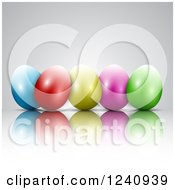 Clipart Of A Row Of 3d Colorful Easter Eggs And Reflections On Gray Royalty Free Vector Illustration