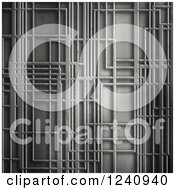 Clipart Of A 3d Metal Background With Abstract Lines Royalty Free Illustration