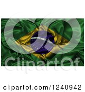 Clipart Of A 3d Crumpled Brazilian Flag Royalty Free Illustration
