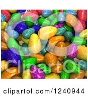 Clipart Of A Background Of 3d Colorful Easter Eggs Royalty Free Illustration