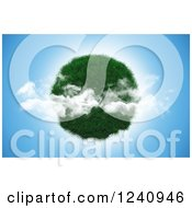 Clipart Of A 3d Grassy Planet Over Blue Sky With Clouds Royalty Free Illustration by KJ Pargeter