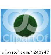 Clipart Of A 3d Grassy Planet Over Blue Sky Royalty Free Illustration by KJ Pargeter
