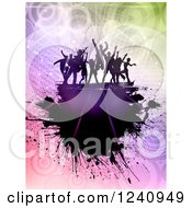 Clipart Of Silhouetted Dancers Over Gradient Circles And Grunge Royalty Free Vector Illustration
