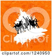 Clipart Of Silhouetted Dancers Over On White Over Orange Grunge Royalty Free Vector Illustration