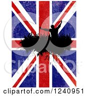 Clipart Of A Silhouetted Crowd Of Fans Cheering Over A Distressed Union Jack British Flag Royalty Free Vector Illustration